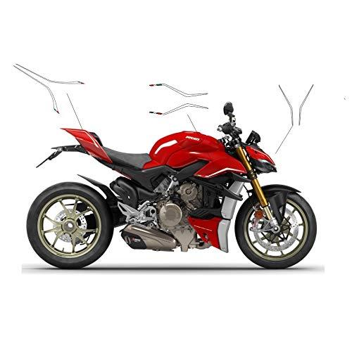 Vulturbike Aufkleber-Kit weiß mit Wimpeln - Ducati Streetfighter V4 / V4S