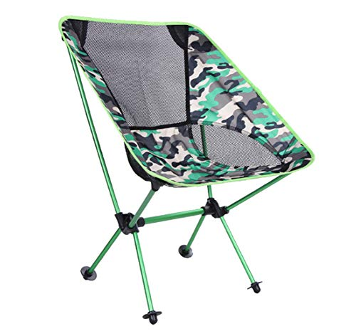 QIKEGooods Outdoor Folding Low Rocking Chair Camouflage Patio Seat for Backpacking, Hiking, Picnic