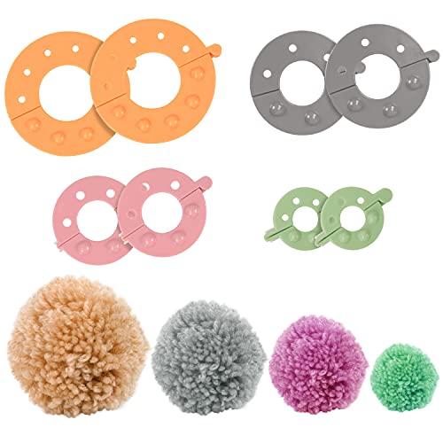 Curtzy Maquina de Hacer Pompones de Plástico (Pack de 4) Maquina Hacer Pompones 4 Tamaños (3,5/5,5/7 y 9 cm) Reutilizable Bolas de Lana – Herramienta para Niños y Adultos