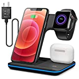 Wireless Charger, 15W Max Charging Dock Compatible with Apple iPhone 8/9/10/11/12 Series Apple Watch 2/3/4/5 Series AirPods, Fast Charger for Samsung Huawei Qi Compatible Phones