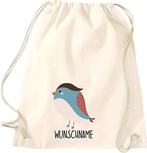 Kleckertegel kinderen gymtas rugzak gymzak spreuken stoffen tas met opdruk motief dieren vogel spat naam