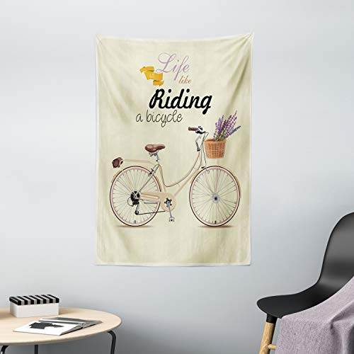 Ambesonne Bicycle Tapestry, Boho Pop Art Antique Bike Illustration with an Aesthetic Lavender Bouquet Basket, Wall Hanging for Bedroom Living Room Dorm Decor, 40' X 60', Beige Lilac