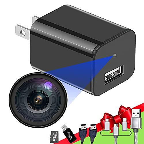 Spy Camera Charger, 1080P Hidden Camera with 32GB SD Card, Mini Spy Camera with Motion Detection, Office & Home Spy Cam - Hidden Spy Camera - Hidden Nanny Cam- Surveillance Camera