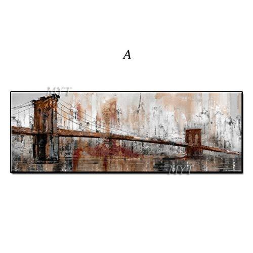 Muwill Ölgemälde Auf Leinwand Handgemalt,100% Handgemalt Verfallene Brücke Gebäude Abstrakte Ölgemälde An Der Wand Kunst Gemälde Kunstwerk Groß Für Cafe Wohnzimmer Moderne Wohnkultur, 60 Cmx120Cm (2