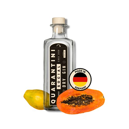 QUARANTINI Social Dry Gin [Made in Germany] 1x 0,5l - fruchtiger Summer Gin mit Papaya, Bergamotte, Wacholder - ausgezeichneter Premium Gin - inkl. Spende
