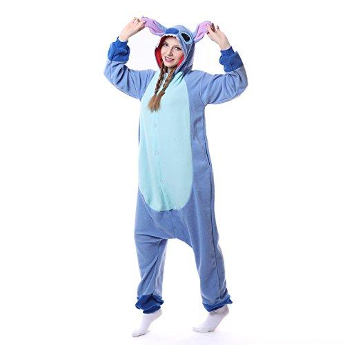 Blauer Pyjama für Erwachsene aus warmem Flanellstoff, Einteiler, Stitch-Design, Unisex Blue New Stitch - 4