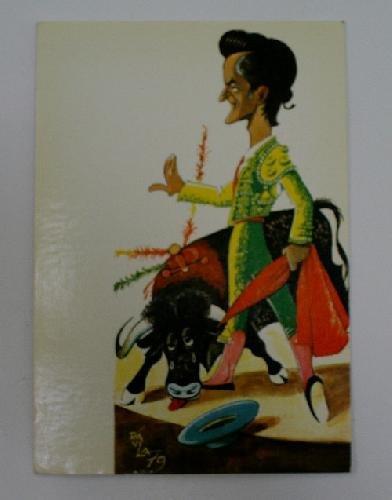 Antigua postal. Ols post card. Postal en color que representa una caricatura del torero Santiago Martin