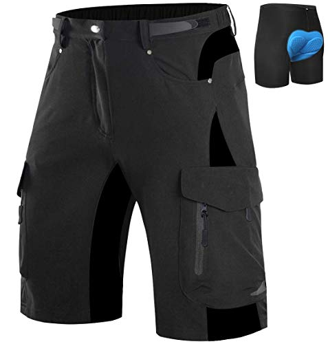 Wespornow Pantaloncini Mountain Bike Uomo-Asciugatura Rapida Pantaloncini MTB Uomo-Traspirante-Pantaloni- Antibatterica-Bici MTB-Shorts per Ciclismo da Corsa All'Aperto(Nero, S)