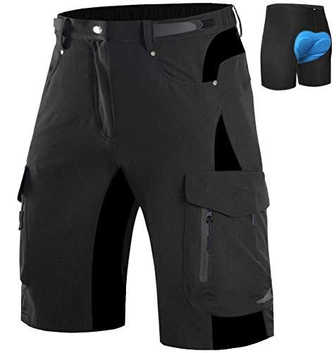 Wespornow Men's-Mountain-Bike-Shorts Padded MTB Shorts with 6 Pockets (Black, X-Large)