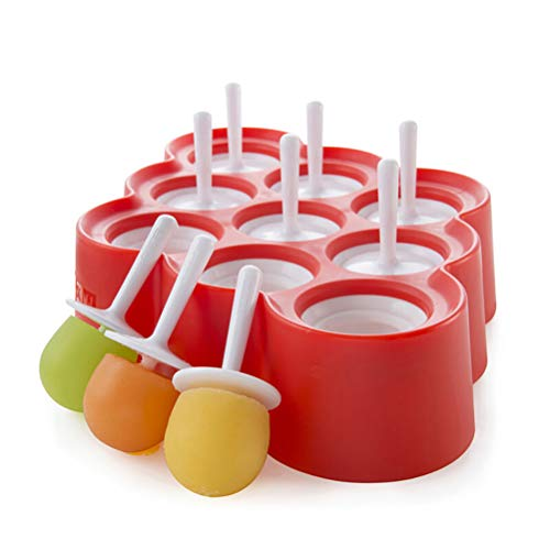 BaiJ Eisform für Kinder,Mini Eisformen EIS am Stiel Lutscher und Eiscreme Form Silikon Ice Pop Formen mit 9-Loch Lutscherformen Wassereis Stieleis Rot