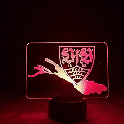 Stuttgarter Fußballverein Vfb Team Standard Nachtlicht 3D Illusion Nachtlicht 7 Farben Acrylplatte LED Geschenk Touch-Schalter beste Geschenk Ferienhaus Dekoration