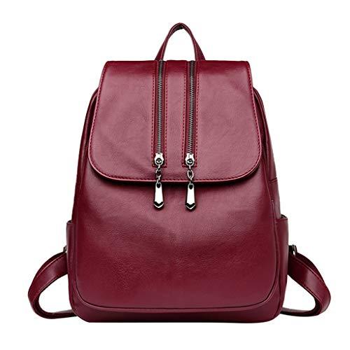 KUDICO Damen Rucksack Elegant PU Leder Schultaschen Reiserucksack Tagesrucksack Schultertaschen Leichter Daypack Umhängetaschen Backpack (rot, one Size)