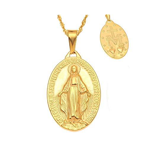BOBIJOO Jewelry - Pequeño Colgante De Collar De La Medalla De La Virgen María De Acero Inoxidable De Oro De Mujer Chica Niño+Cadena