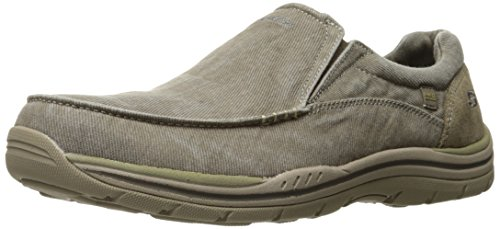Skechers mens Expected - Avillo golf shoes, Khaki Canvas/Suede, 10.5 US