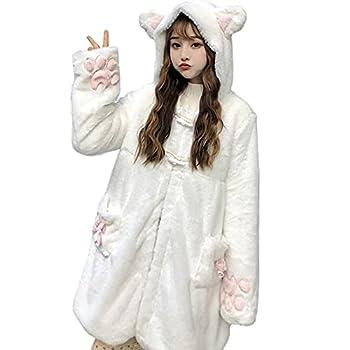 Women Cute Kawaii Cat Ear Claw Grils Fleece Warm Long Sleeve Hoodie Sweatshirt Coat Jacket White