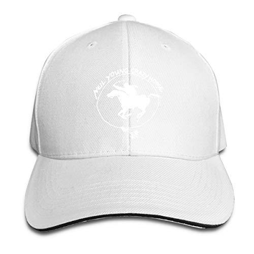 Adjustable Womens Mens Neil Young Crazy Horse Logo White Baseball Hat Cap Snapback Dad Hats for Women Men