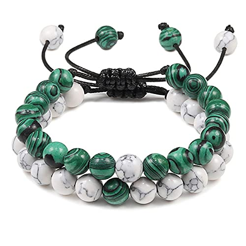LEEYAN 2 unids/Set Bead Pulsera Natural Tiger Stone Charm Onyx Cuentas de Cuentas Pulseras para Mujer Hombres Amigo Regalo Joyería Estirada