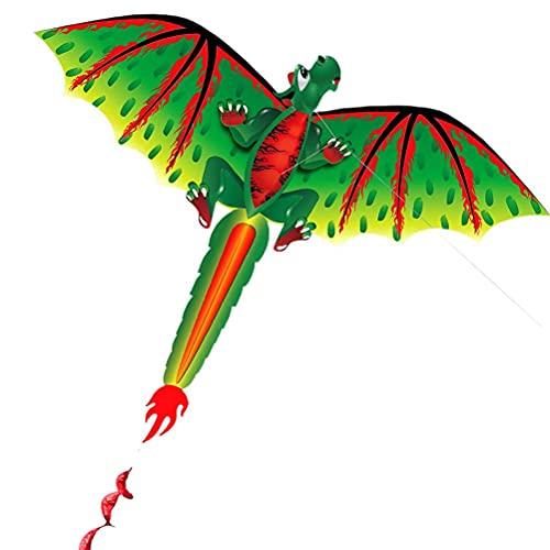 Estrella-L Cometas de dinosaurios, cometa de dinosaurio verde estéreo 3D con cola, con cuerda de 100 m, cometas para niños y adultos, para actividades al aire libre de playa