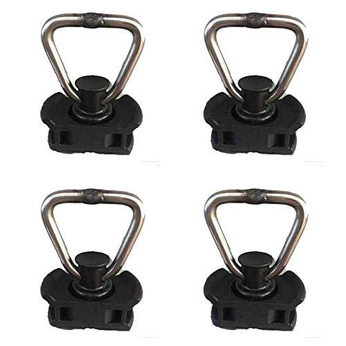 Kurierbedarf.com 4 ferrures d'extrémité pour rail d'arrimage avec anneau et support en plastique.