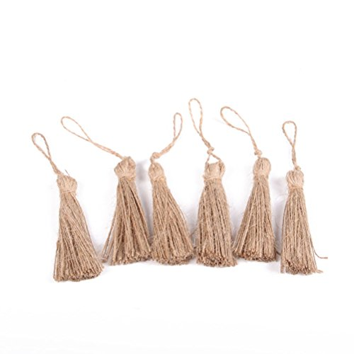 OULII Yute natural estilo borla embellecer cuerdas, adornos navideños, decoración de casa de fiesta de boda