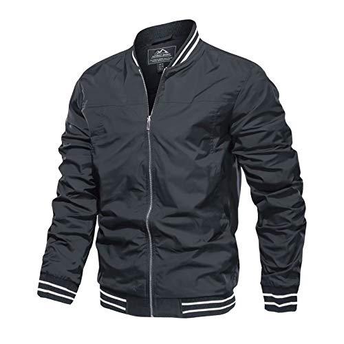Letterman Jacket Men Custom Bomber Jacket Varsity Jacket Mens Lightweight Jacket Casual Jacket Softshell Jackets Windbeaker Jacket Outerwear Jackets Grey