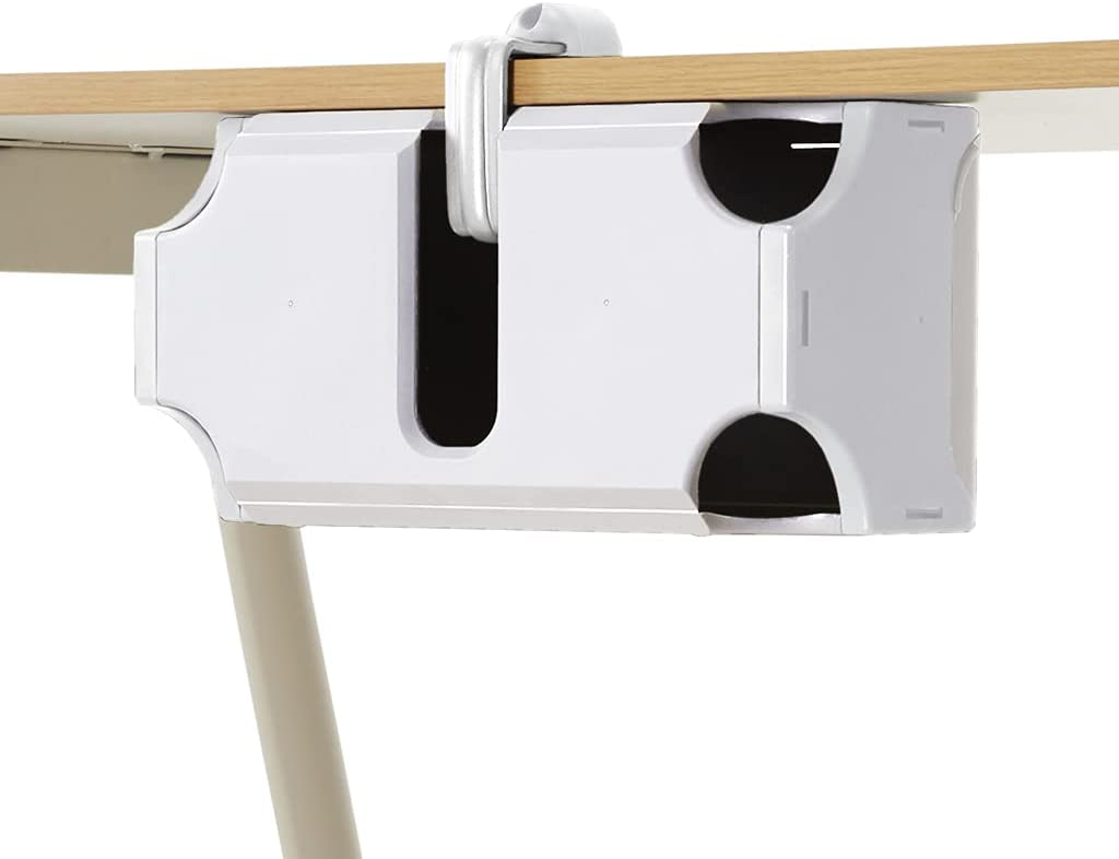 TAP-UP Cable Box, Desk Mounted Cable Management Box, Cord Organizer - Easy to Install Without Drilling Any Holes to Your Desk (White)