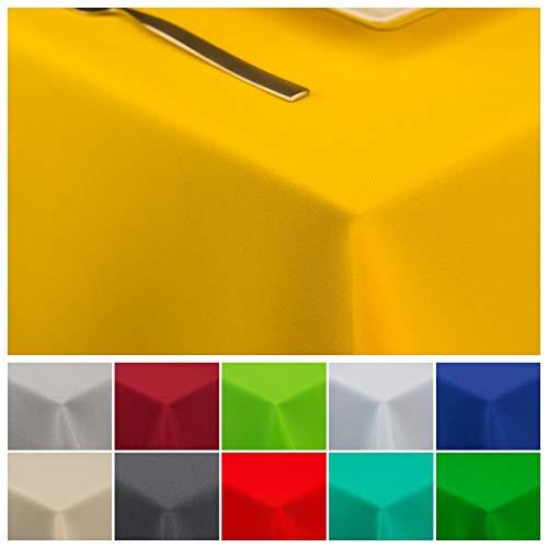 StoffTex Tischdecke Tischläufer Tischtuch Tischwäsche Tischdekoration Tafeltuch (Gelb, 120 x 160 cm)