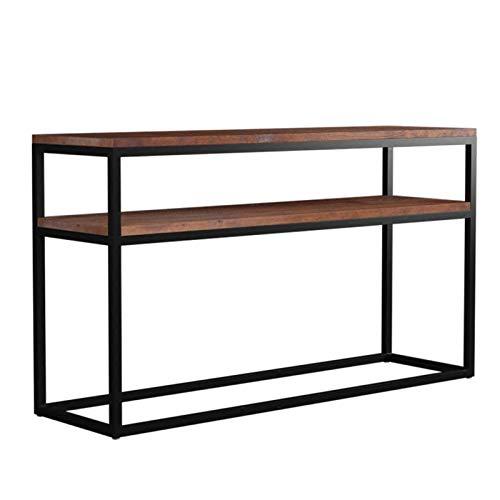 Mesa de consola de madera maciza con estante de almacenamiento de 2 capas, mesa auxiliar estable con estructura de metal industrial, escritorio de decoración de sofá de pasillo de pared para el hoga