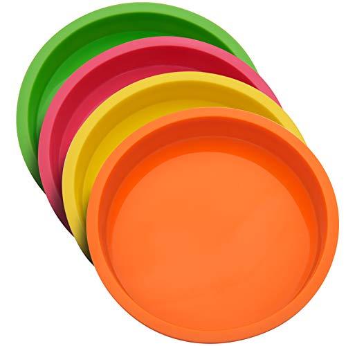 Uarter Moule à Gâteau Rond en Silicone 20cm(8 Pouces), Moule Rond Anti-adhésifs sans BPA Moulle à Patisserie Fête d'anniversaire,Anniversaire de Mariage,Lot de 4