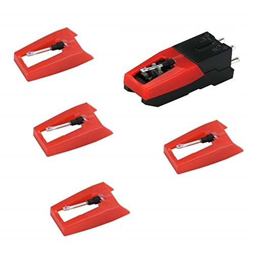 Acestar Vinyl LP Record Player Needle,5 Pack Replacement Stylus for Turntable,Phonograph