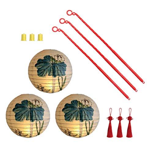BXU-BG 3 juegos de linternas de papel chino colgante lámpara de linterna de papel DIY linternas fiesta linterna decoración con bulbo borla poste