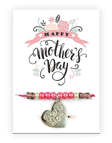 Pulsera Pracht Creatives Hobby 6014-08275 con colgante de corazón grabado y tarjeta con texto a juego, ideal como pequeño detalle, como agradecimiento o como regalo para el día de la madre, multicolor
