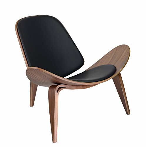 Design Tree Home Hans Wegner Shell Chair Replica, Walnut Plywood and Black Leather