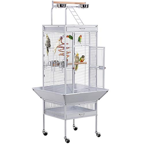 Yaheetech Jaula para Pájaros Jaulas Grandes para Canarios Loros Jaula Metal Grande 64 x 64 x 157 cm Blanco
