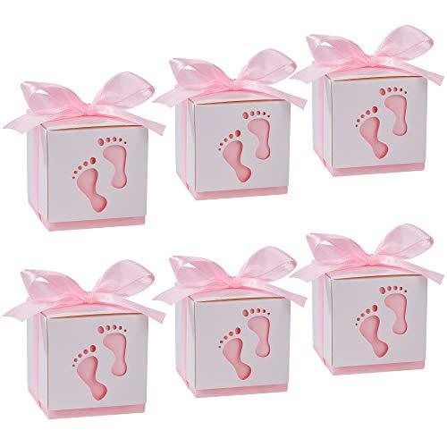 Cajitas Regalo Papel Caramelos Bombones Regalos Detalles de Fiesta para Baby Shower Cumpleaños Bautizo Niños Recién Nacida Fiesta Boda, 50PCS Bolsa de Dulces
