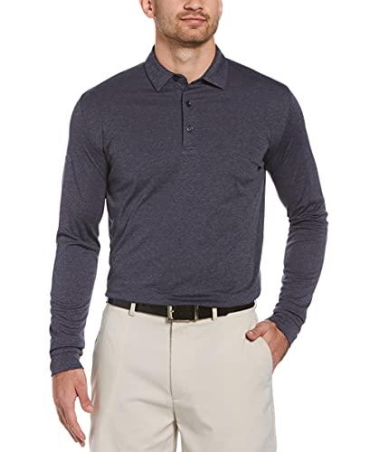 Callaway Men's Swing Tech Essential Long Sleeve Golf Polo Shirt, Navy Chambray Heather, Small
