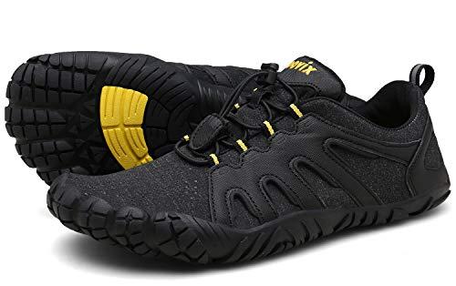 Voovix Herren Damen Barfußschuhe Fitnessschuhe Laufschuhe Minimalistische Traillaufschuhe Trekkingschuhe Wanderschuhe Outdoor Sneaker im Sommer Schwarz/Gelb42