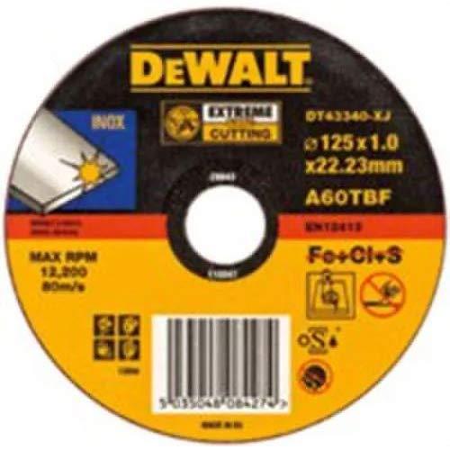 DeWalt DT43341-XJ - Disco abrasivos plano extreme para cortar acero inoxidable, 125 x 1,6 x 22,2 mm, 1 unidad