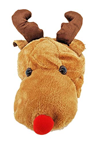 Reindeer with Antler Rudolph Red Nose Plush Hat Costume Play Party for Kids