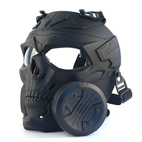 Máscara táctica, Airsoft Paintball Protección Gear Dummy mecánico cráneo máscara con ventilador turbo lente transparente