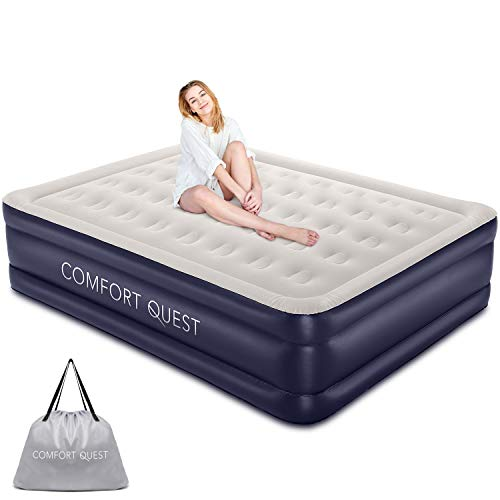 COMFORT QUEST Queen Air Mattress with Built-in Pump for Guest, Dark Blue