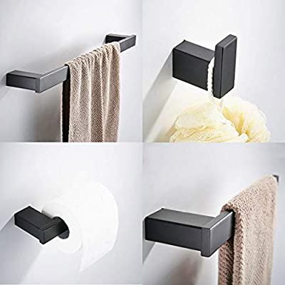 GIMILI 4 Piece Bathroom Hardware Accessories Set Stainless Steel Wall Mounted Matte Black