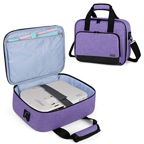 Luxja Projektortasche, Projektortasche mit Zubehör-Aufbewahrungstaschen (kompatibel mit den meisten großen Projektoren) violett