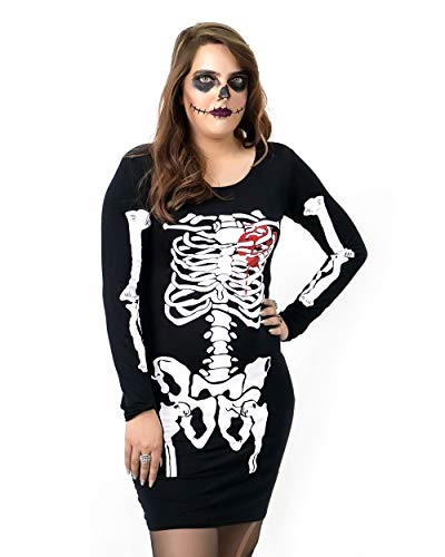 NOROZE - Vestito da scheletro per Halloween, con teschio di sangue e osso, novità per feste e mamme, figlia Cuore scheletro 9-10 Anni