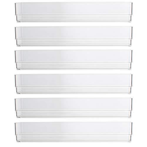 STORi Clear Plastic Drawer Organizers – 9″ x 3″ x 2″ – Set of 6