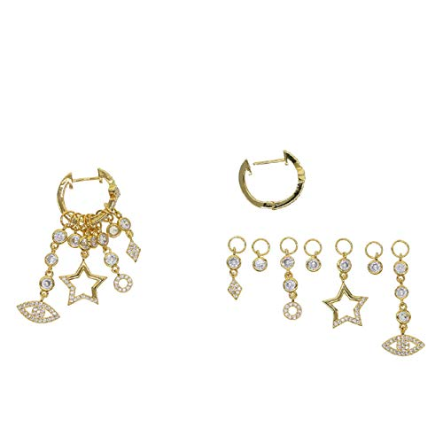 gold color delicate floating star stacking fashion trendy women turkish evil eye charm hoop earrings jewelry
