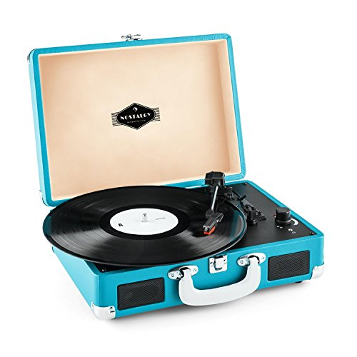 auna Peggy Sue tocadiscos retro (USB, altavoces estéreo integrados, salida RCA, digitalizador LP) - azul