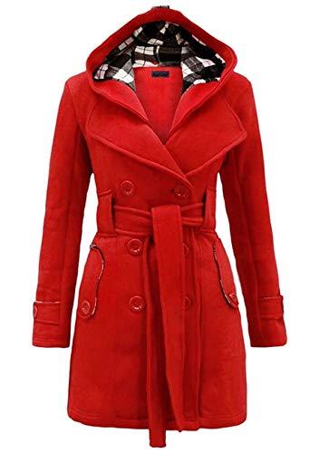 YMING Damen Winter Warmer Kapuzenmantel Lässiger Mittellanger Mantel Elegante Einfarbige Jacke Wollmantel Mit Taschen Rot 2XL