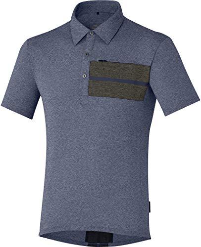 SHIMANO Polo Sh Transit T-Shirt, da Uomo, Uomo, ECWJSCSQS31ML4, NAV, L