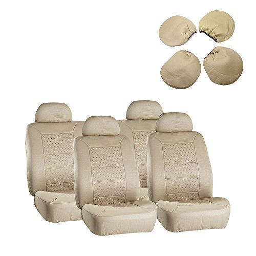 cciyu Seat Cover Universal Car Seat Cushion w/Headrest - 100% Breathable Washable Automotive Seat Covers Replacement Replacement fit for Most Cars Trucks Vans (Beige)